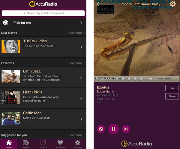 AccuRadio 携帯画面