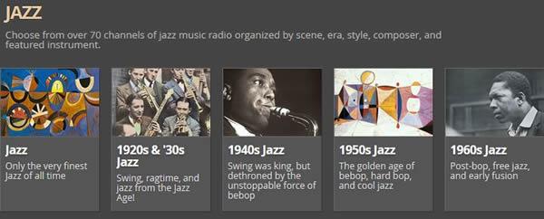 AccuRadio ジャズ画面