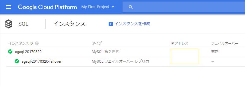 GCP SQL クラスター MySQL