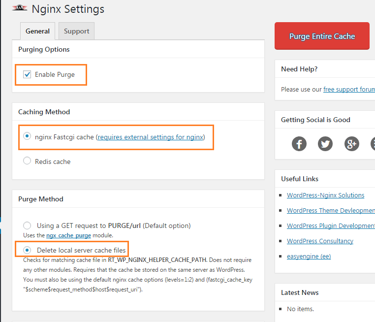 Nginx Helper WordPress キャッシュ 削除
